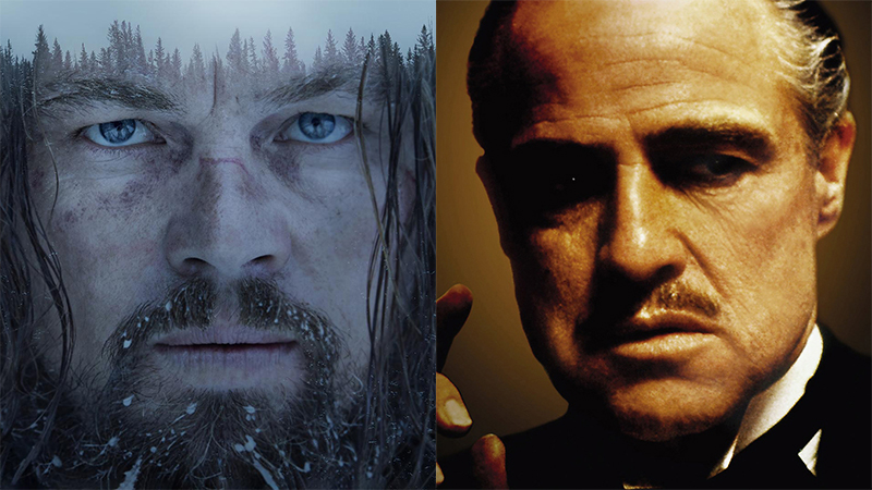 "Images from ""The Revenant"" and ""The Godfather"""