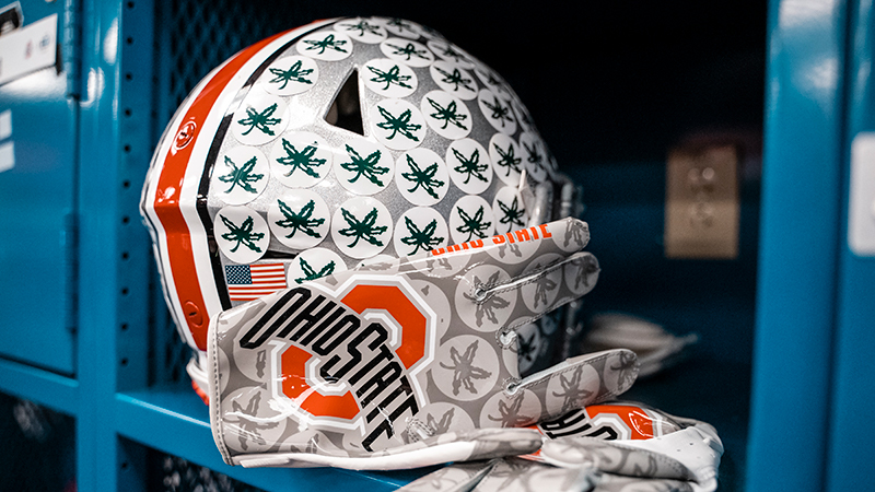 A photo of an OSU helmet in a locker
