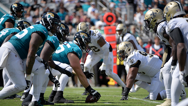 A photo of a game between the Jaguars and Saints