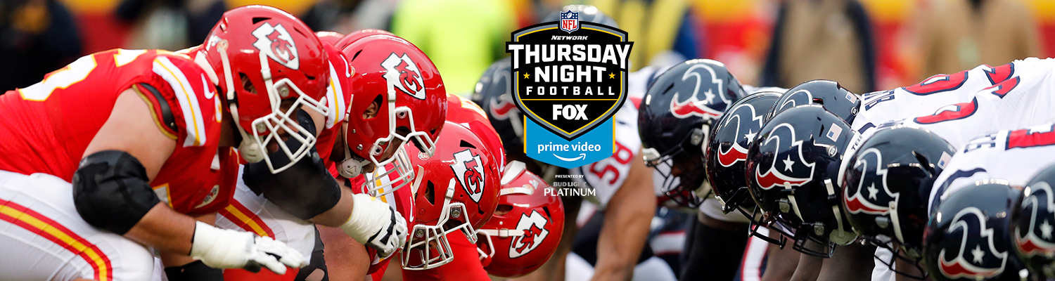 A photo of Chiefs and Texans players with the Thursday Night Football logo