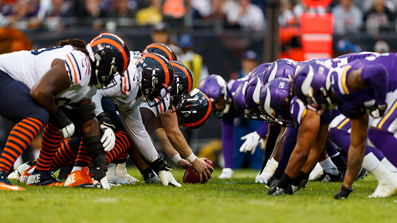 An image from a game between the Bears and Vikings